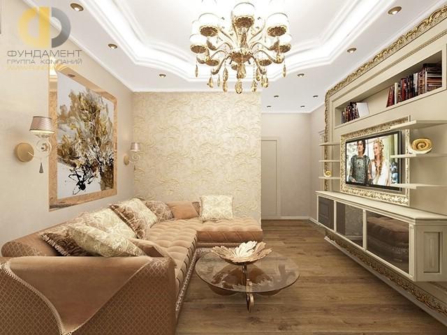 Гостиная с угловым диваном и оттенками крем-брюле