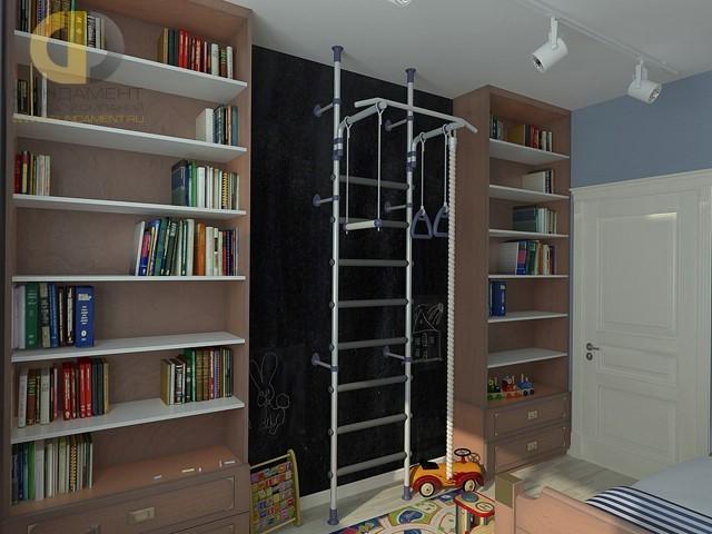 Дизайн детской для мальчика 8 кв. м со спортивным уголком: фото интерьера