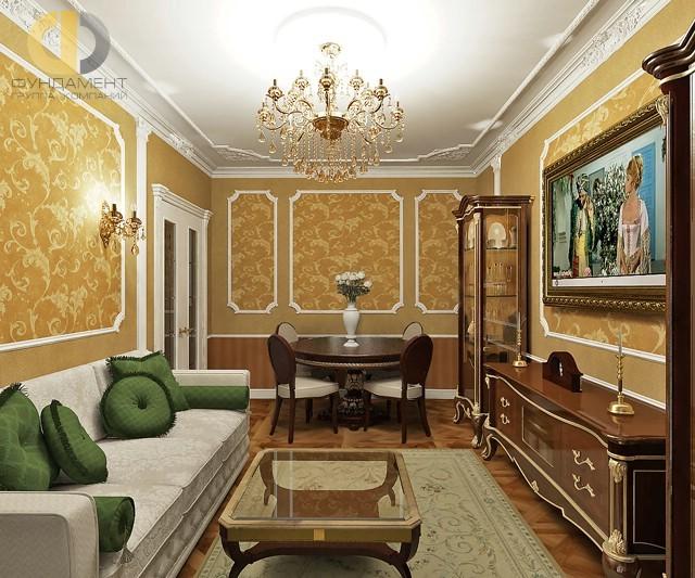 Интерьер классической гостиной с деревянной мебелью