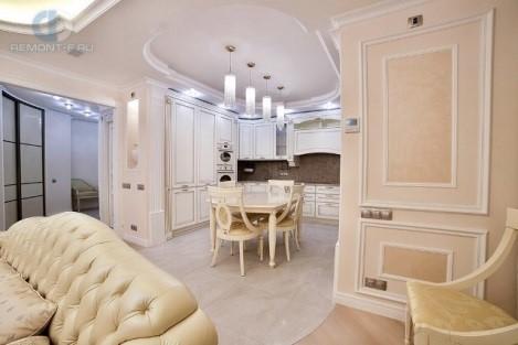Дизайн классической кухни-гостиной в бежевых тонах
