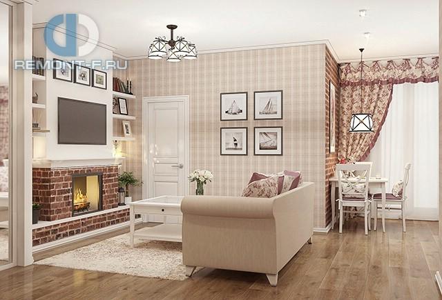 Гостиная в квартире в стиле прованс. Фото интерьера