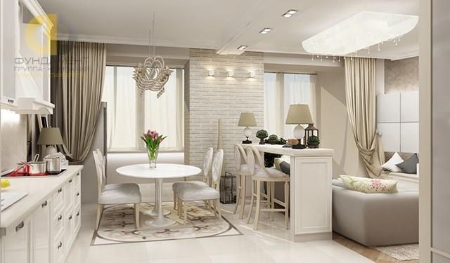 Кухня-гостиная в квартире в стиле прованс. Фото интерьера с барной стойкой