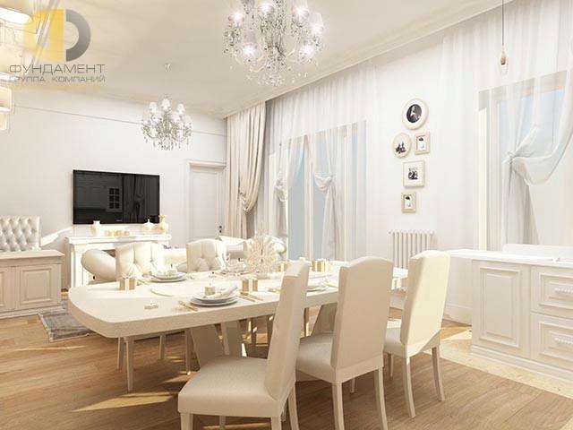 Белая гостиная-столовая с камином