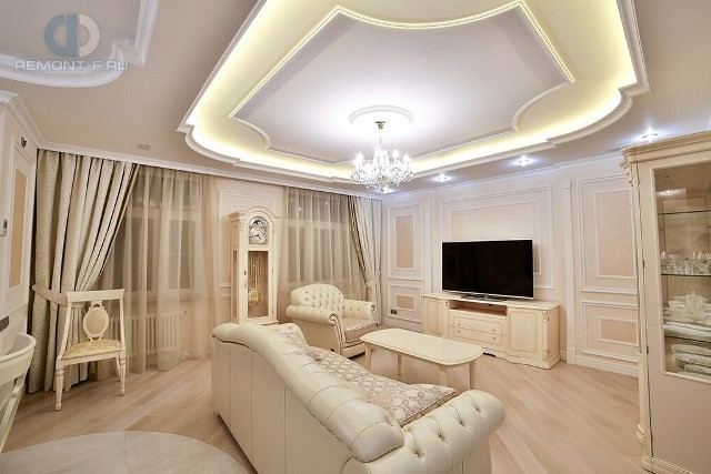 Дизайн классической гостиной в светлых тонах