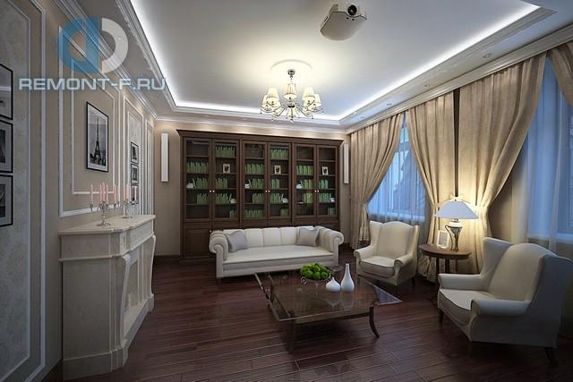 Интерьер гостиной-библиотеки с камином