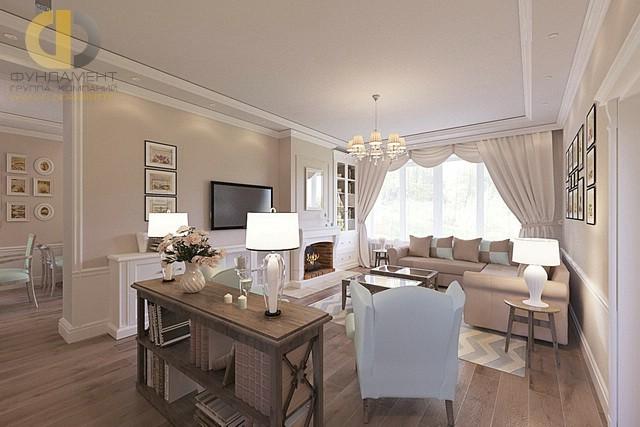 Светлая мягкая мебель в интерьере гостиной в стиле классика