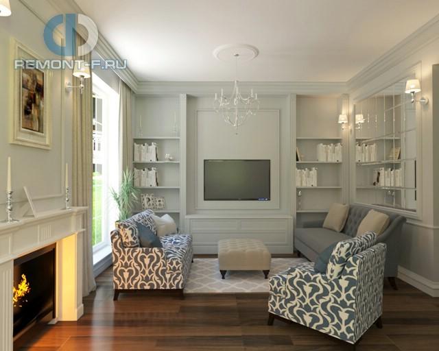 Дизайн-проект интерьера гостиной с камином и встроенными стеллажами