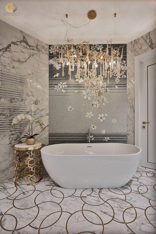 Дизайн интерьера ванной в стиле арт-деко: красивые мебель, плитка, тумбы