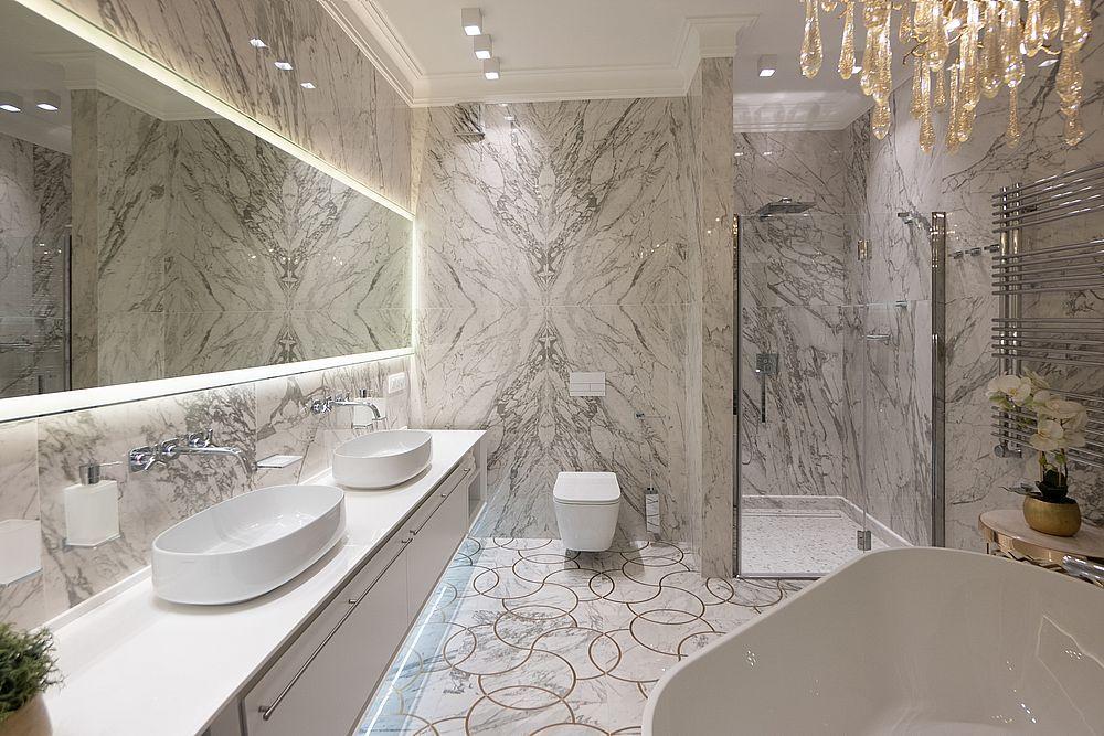 Мрамор в интерьерной отделке пола и стен ванной, кухни и коридора. 35 фото плитки и керамогранита
