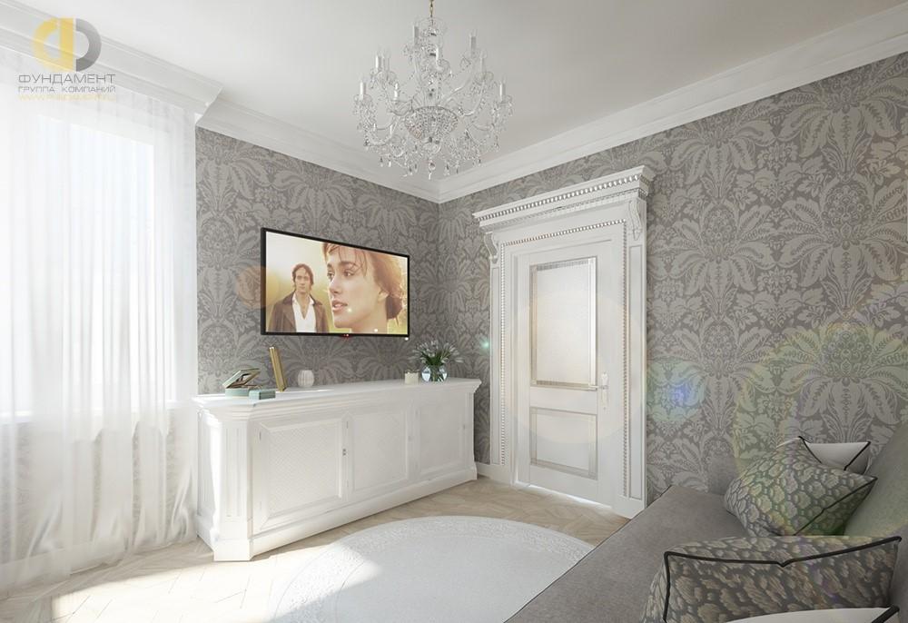 Интерьер спальни с белой дверью