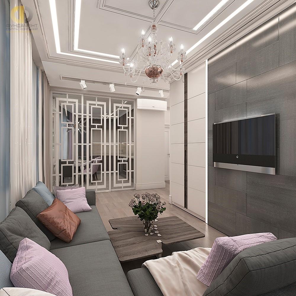 Интерьер гостиной с раздвижными стеклянными дверьми