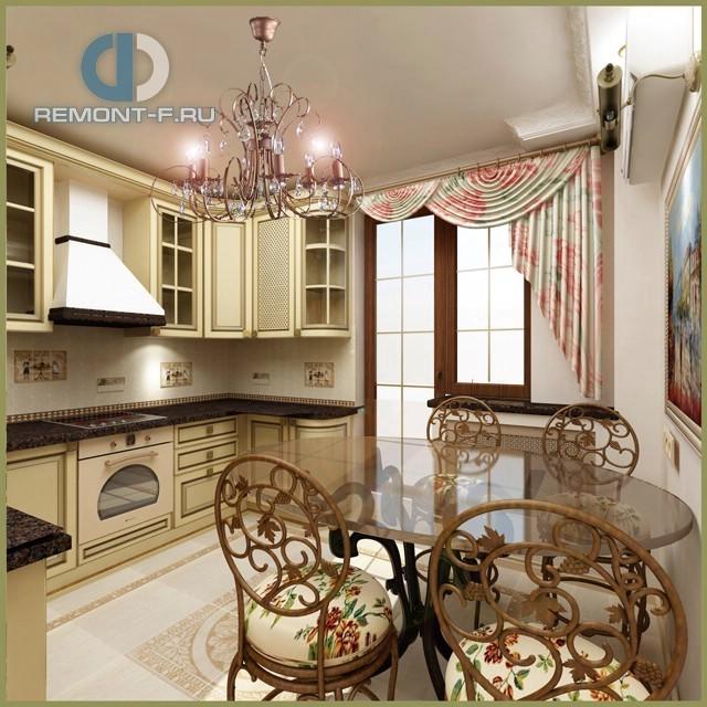 Дизайн прованской кухни в дизайне квартиры в Москве на Белореченской