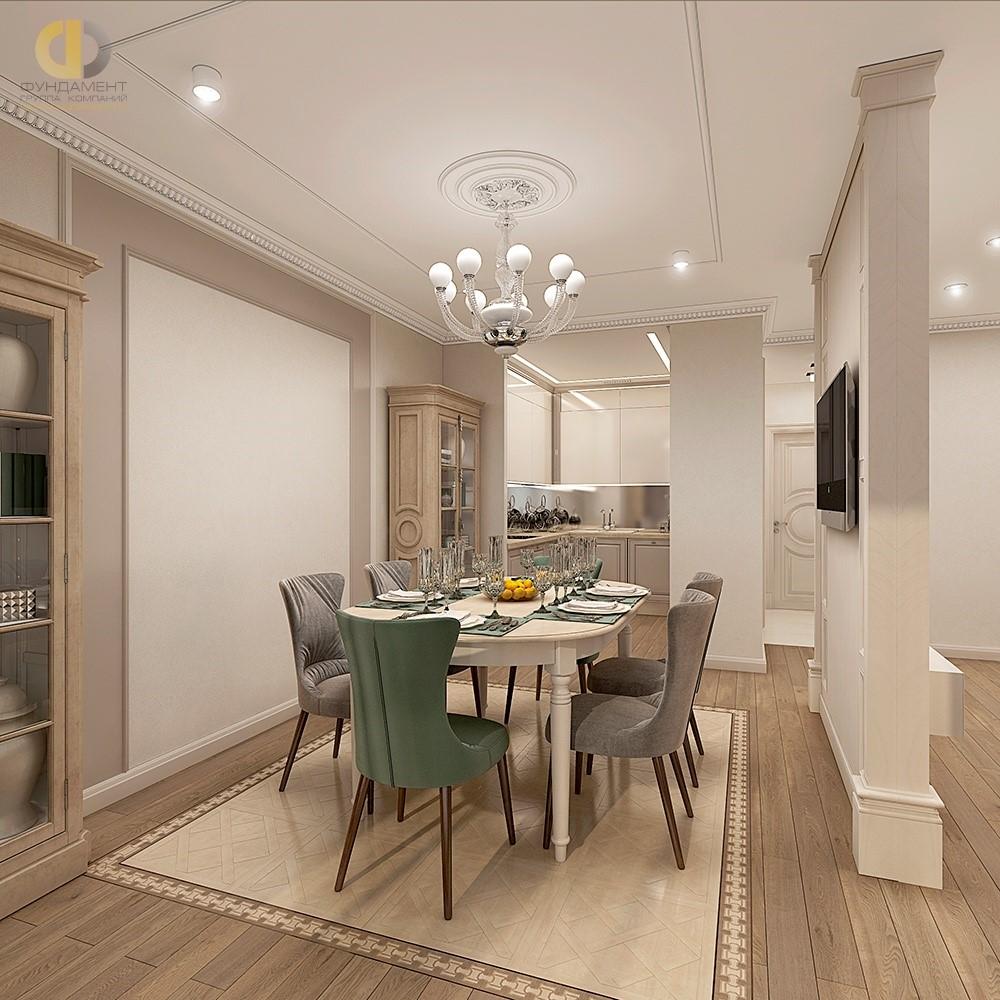 Проект кухни-столовой в классическом стиле. Фото 2018 года