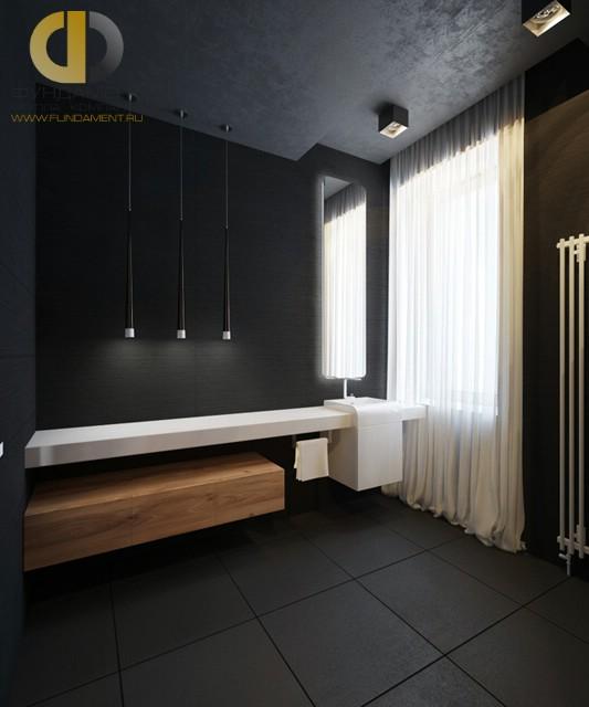 Отделка ванной комнаты плиткой: фото. Дизайн санузла в черных тонах