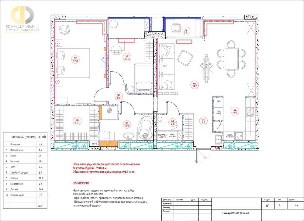 Планировочное решение 3-комнатной квартиры с кухней-столовой