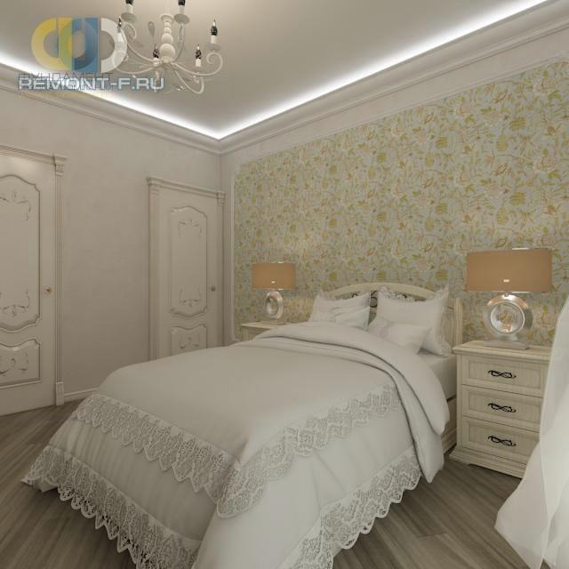 Интерьер светлой спальни с акцентной стеной