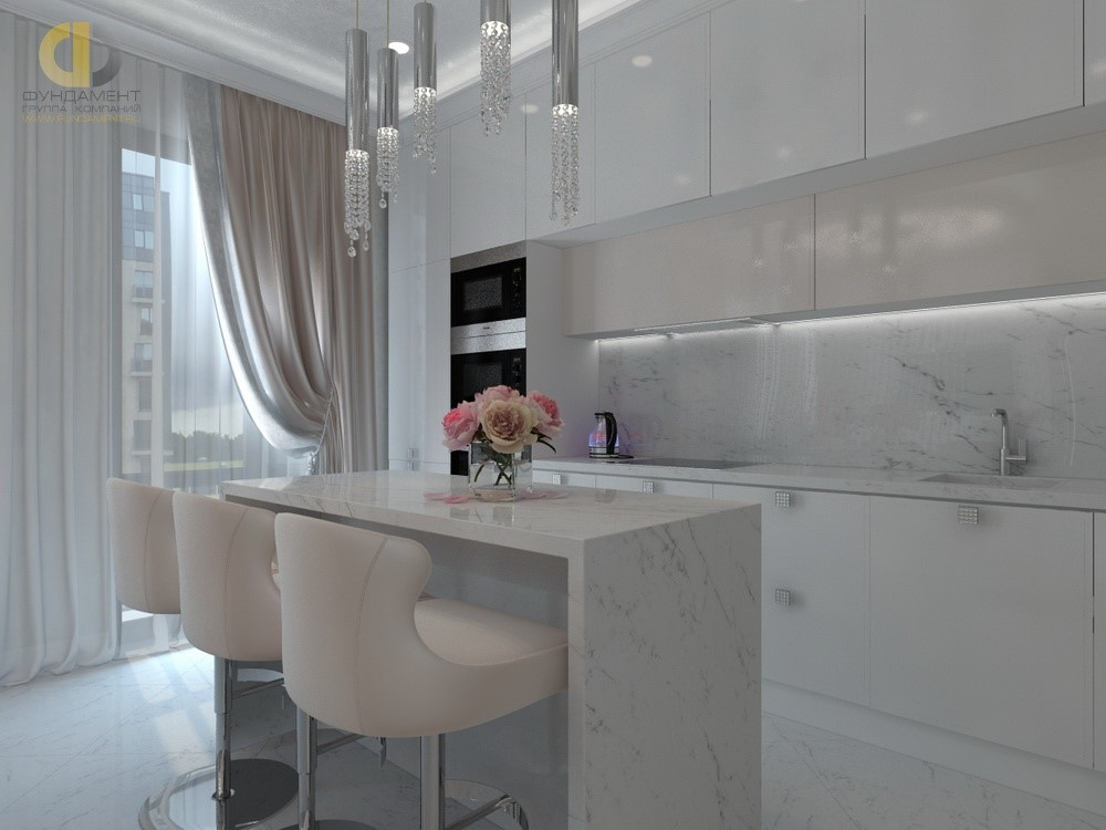 Интерьер кухни-столовой в светлых тонах. Лучшие проекты 2018