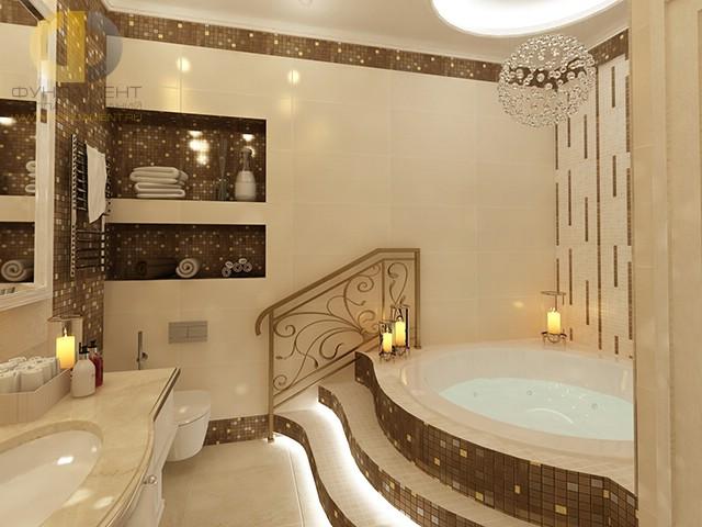 Отделка ванной комнаты плиткой: фото. Дизайн ванной с подиумом