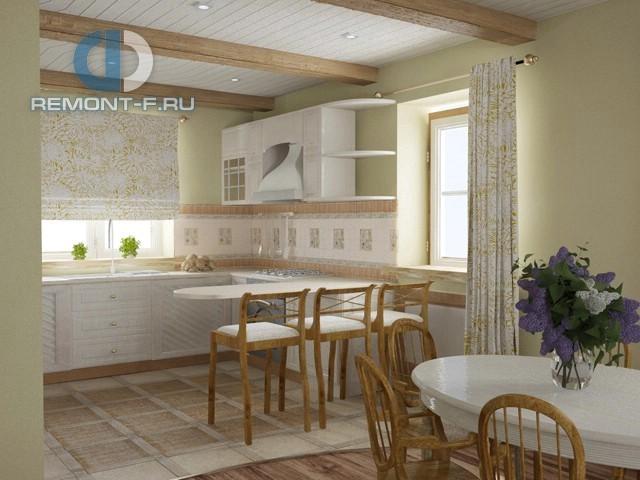 Дизайн кухни в стиле прованс с деревянными балками