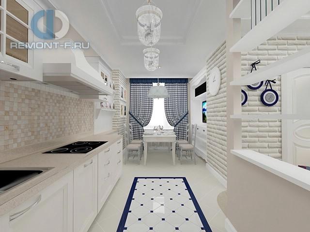Дизайн светлой кухни в квартире на Новочеремушкинской