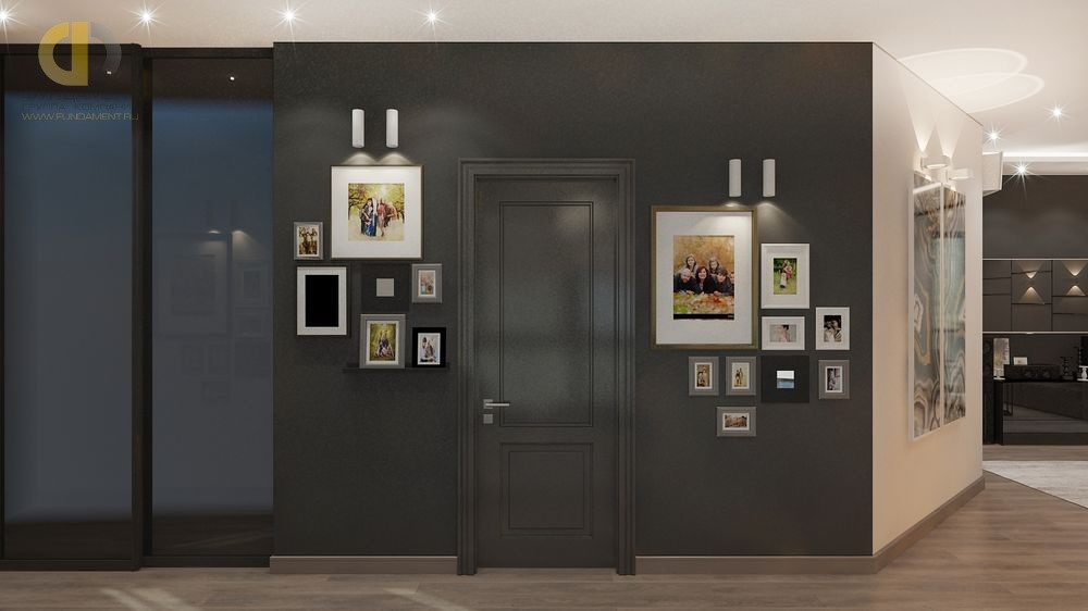 Интерьер коридора с черной дверью