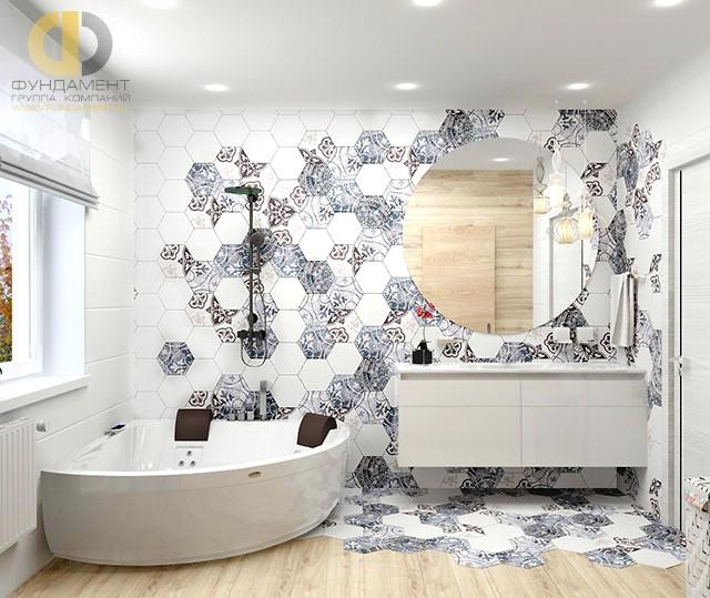 Дизайн пола в ванной комнате из шестигранной и метлахской плитки