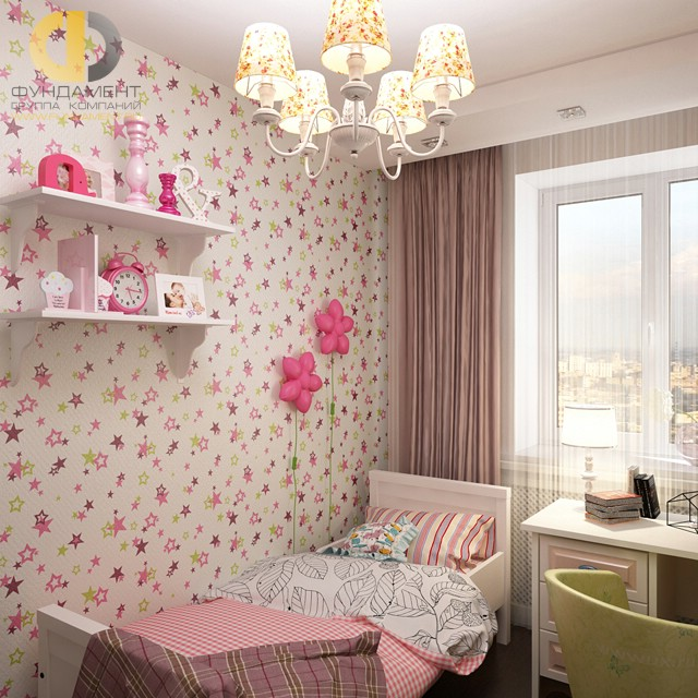 Дизайн детской комнаты для девочки. Фото интерьера