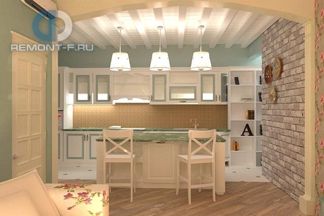 Прованская кухня с кирпичной стеной в трехкомнатной квартире на Мосфильмовской