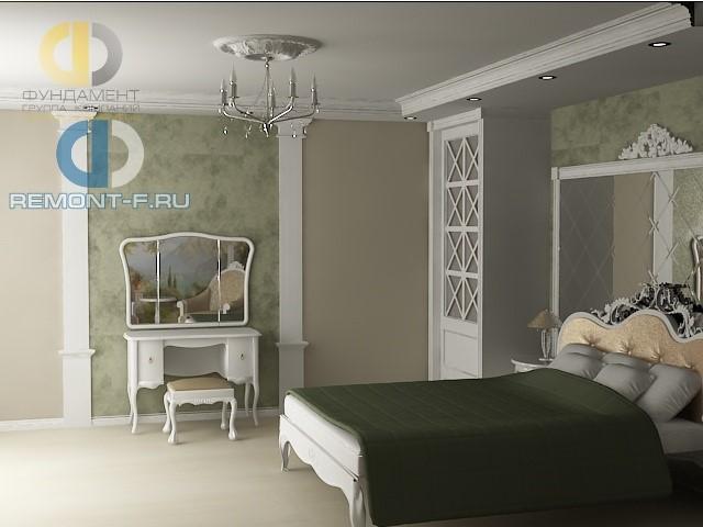 Дизайн будуарной зоны в интерьере светлой спальни с белой мебелью