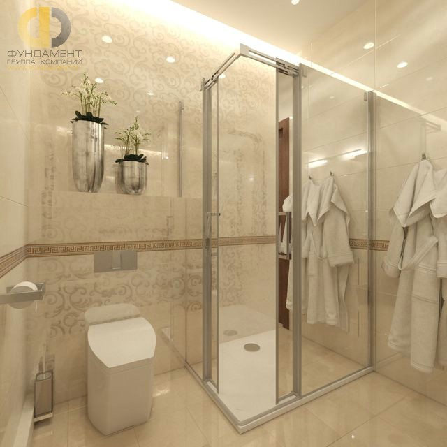 Современные идеи в дизайне ванной комнаты в кремовых тонах. Фото 2016