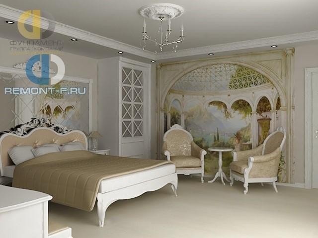 Интерьер светлой спальни с белой мебелью и фреской