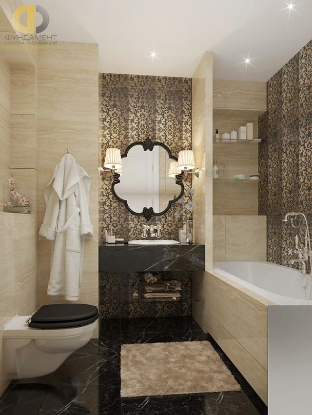 Современные идеи в дизайне ванной комнаты с черным полом. Фото 2016