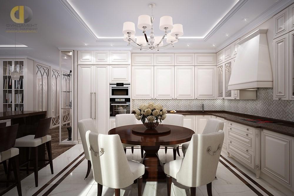 Дизайн кухни-столовой в стиле неоклассика. Фото интерьера