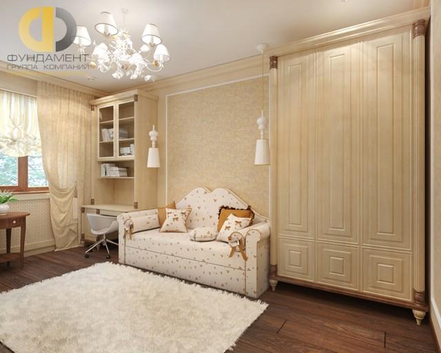 Дизайн детской комнаты для девочки. Фото интерьера с диваном