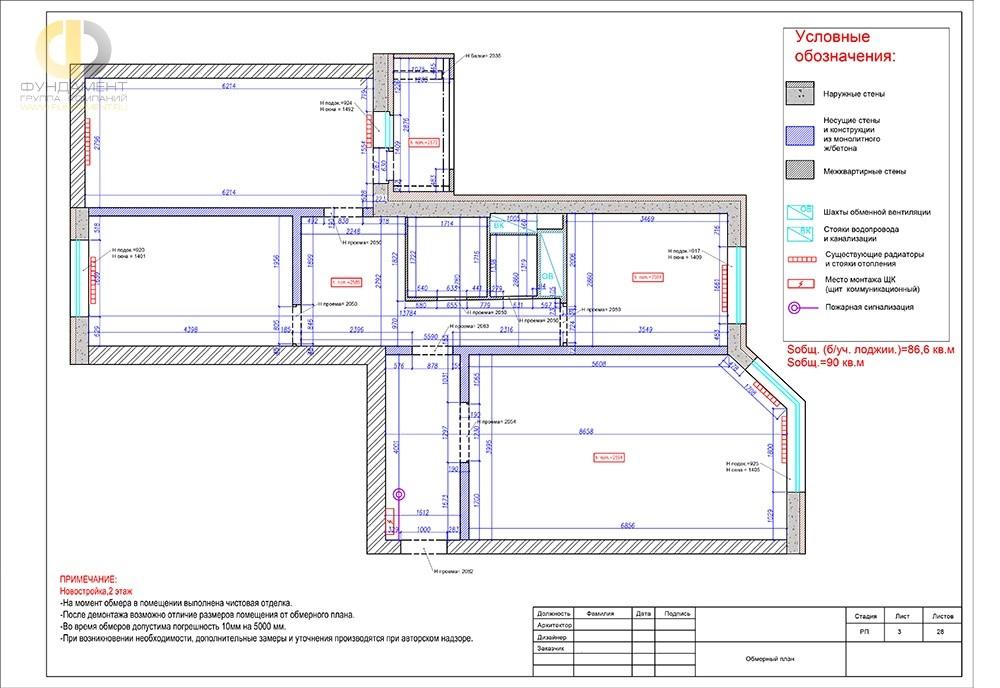 Обмерный план квартиры. Рабочие чертежи для строителей