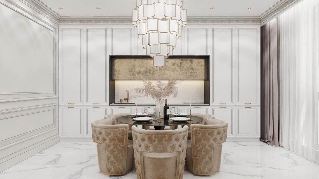 На фото:Интерьер кухни в квартире в стиле ар-деко