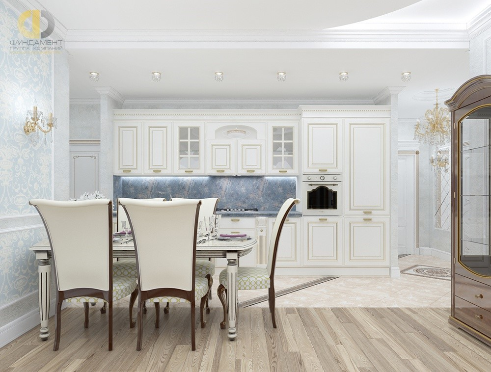 Дизайн кухни-столовой в классическом стиле. Фото интерьера