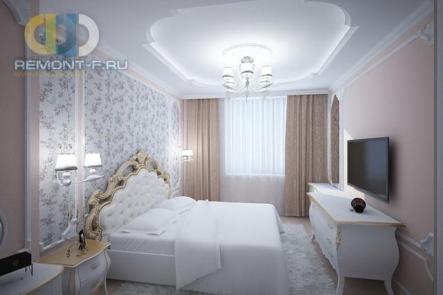 Интерьер светлой классической спальни с акцентной стеной
