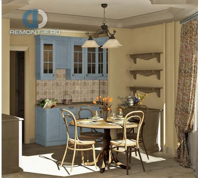 Интерьер прованской кухни в дизайне двухкомнатной квартиры в Химках