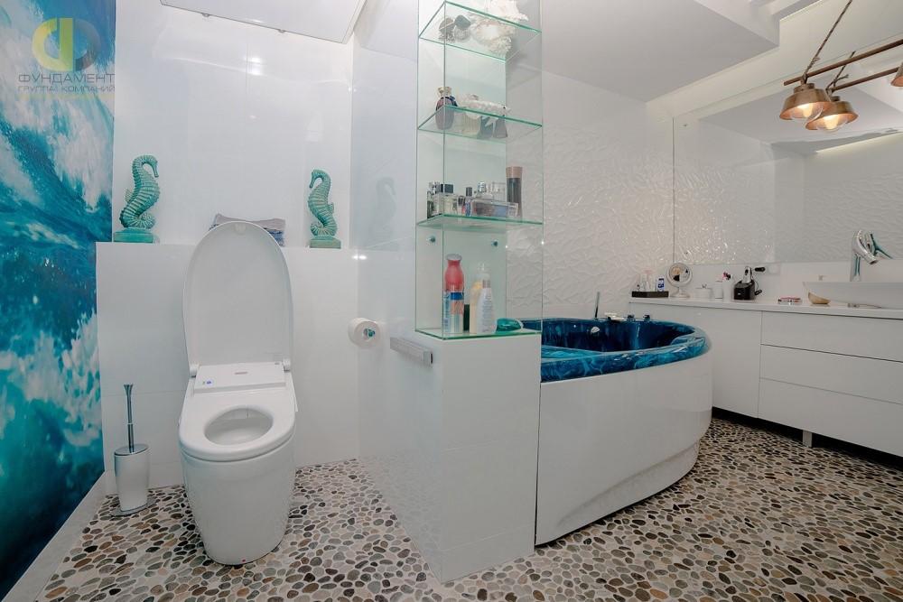 Дизайн темного пола в ванной