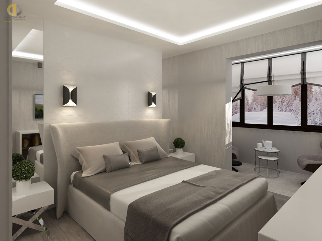 Спальня совмещенная с балконом фото