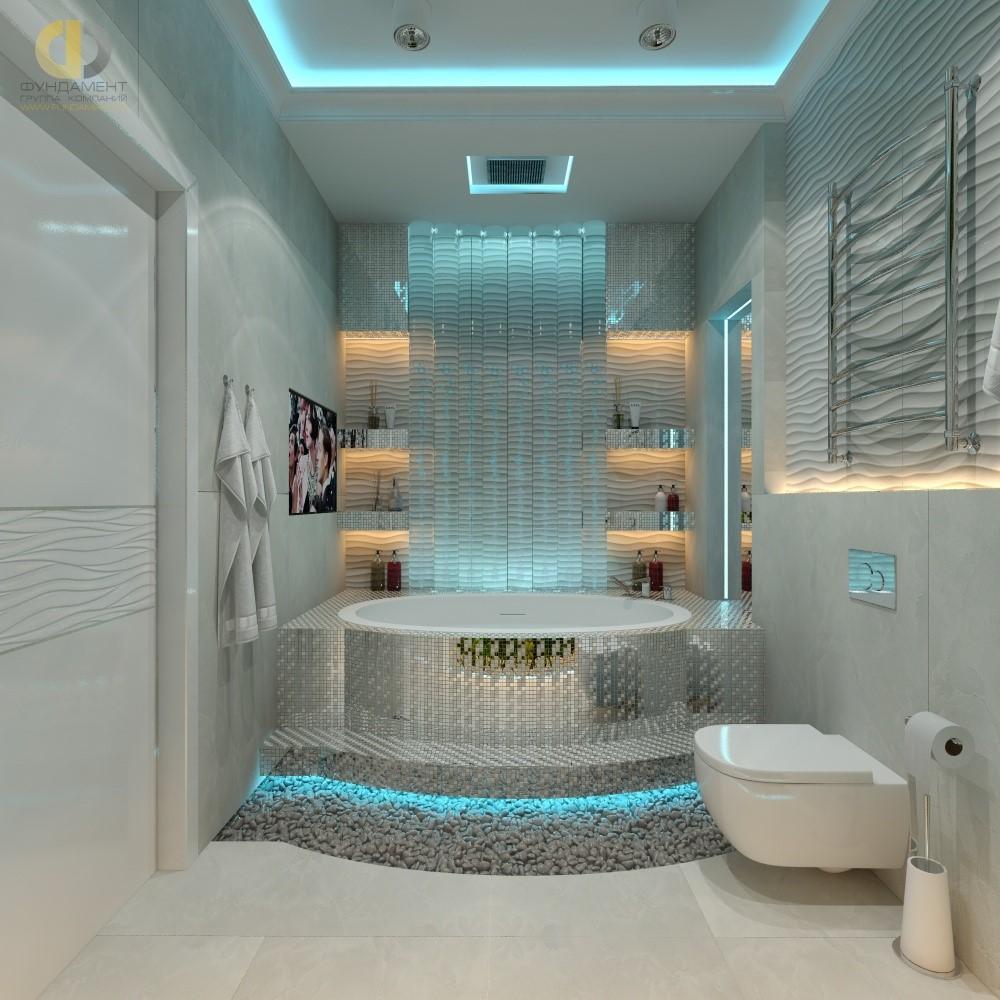 Интерьер ванной комнаты в ЖК «Резиденции Сколково. Страна Чудес»
