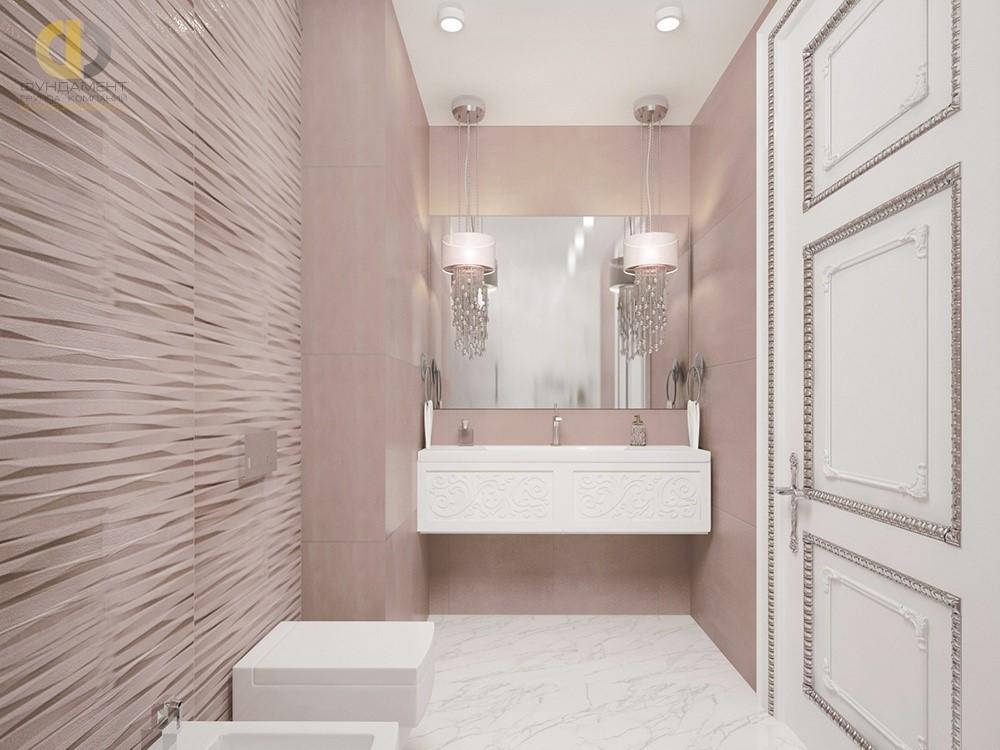 Интерьер ванной комнаты в белых и розовых тонах