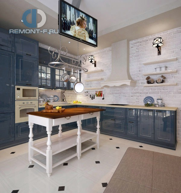 Дизайн пола в стиле прованс на кухне