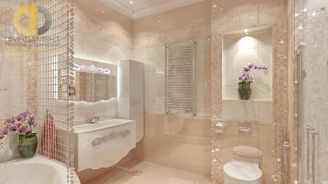 Современные идеи в дизайне изысканной ванной комнаты в кремовых тонах. Фото 2016