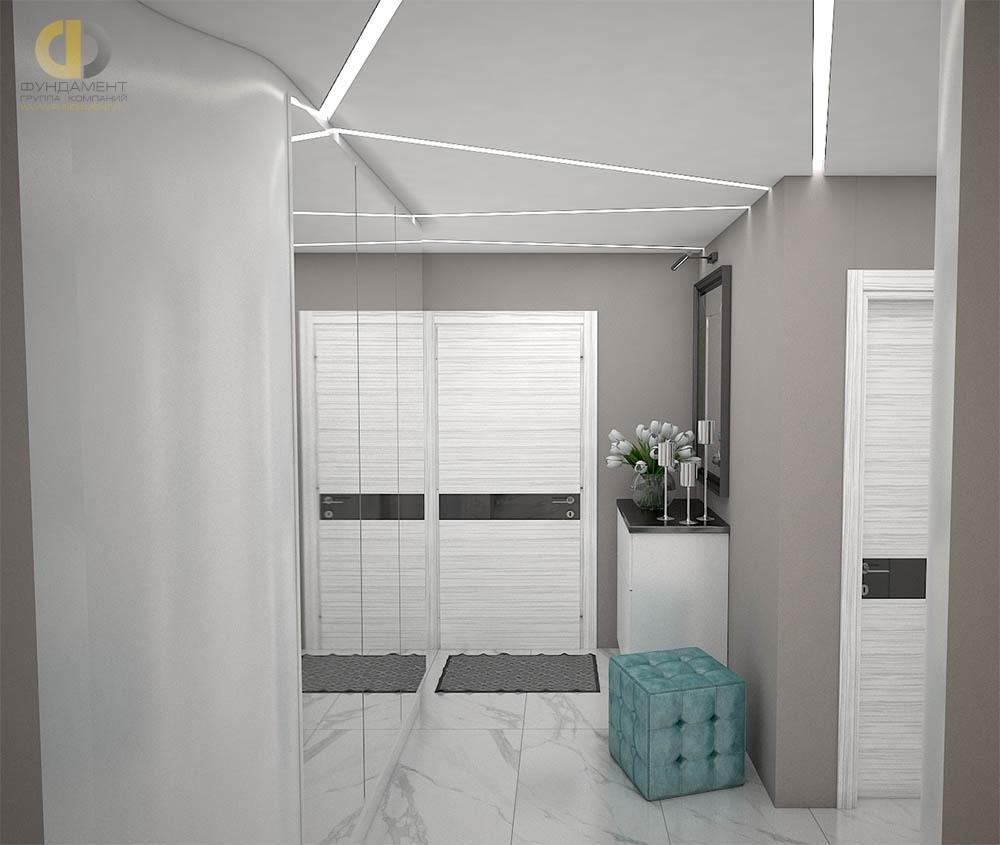 Монохромный интерьер коридора в современном стиле в ЖК «Красная Горка»
