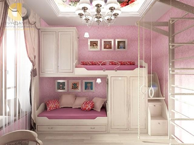 Дизайн детской комнаты для девочки. Фото интерьера с двухъярусной конструкцией