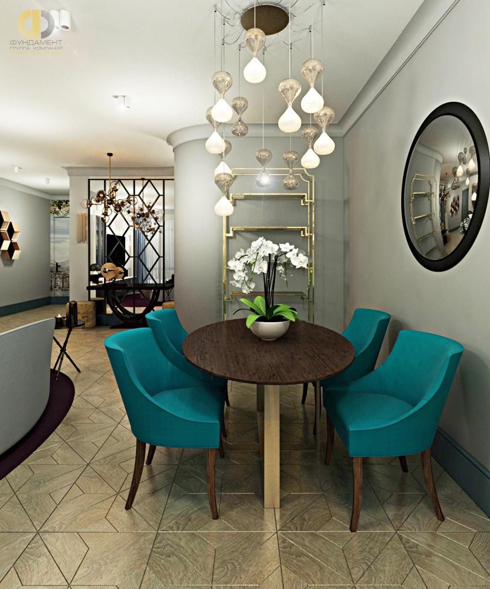 Гостиная-столовая с бирюзовыми креслами в ЖК «Маяк»