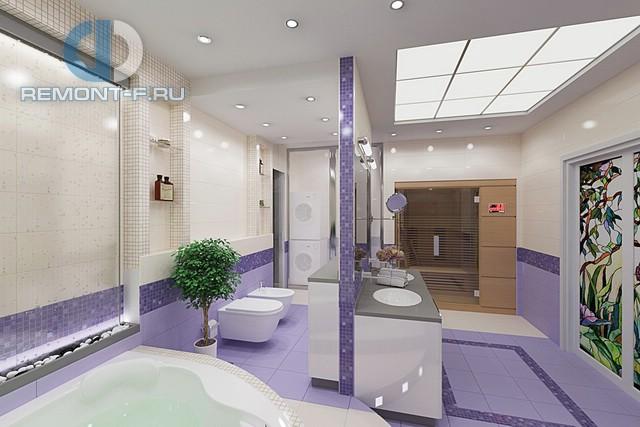Современные идеи в дизайне ванной комнаты с фиолетовой отделкой. Фото 2016