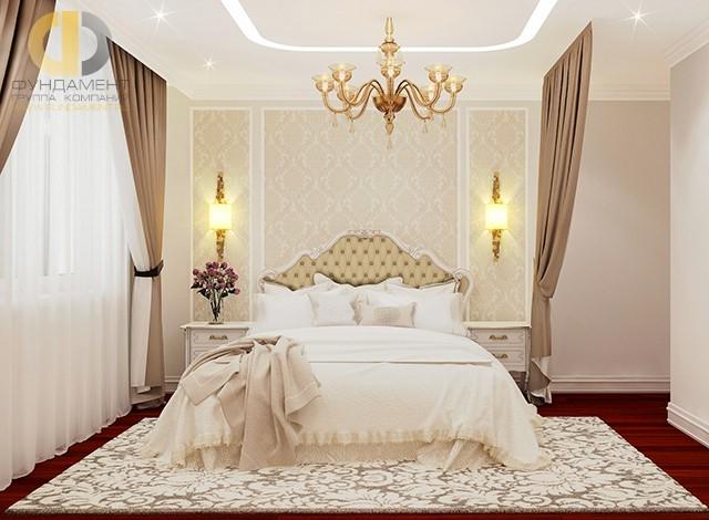 Дизайн прикроватной зоны в интерьере спальни четырехкомнатной квартиры